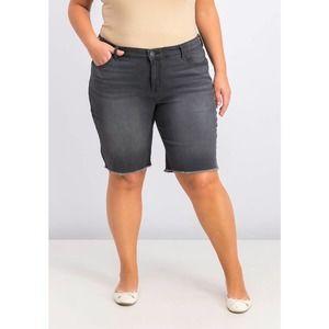 Black Smudge Cut Off Bermuda Shorts 22W